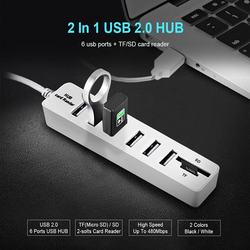 HUB3.0 USB2.0 HUB Multi USB Splitter HUB2.0 Hab SD TF Card Reader Multiple for Computer Laptop use