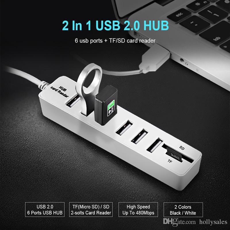 HUB3.0 USB2.0 HUB USB متعدد الفاصل HUB2.0 هب SD TF قارئ بطاقة متعددة للكمبيوتر استخدام الكمبيوتر المحمول