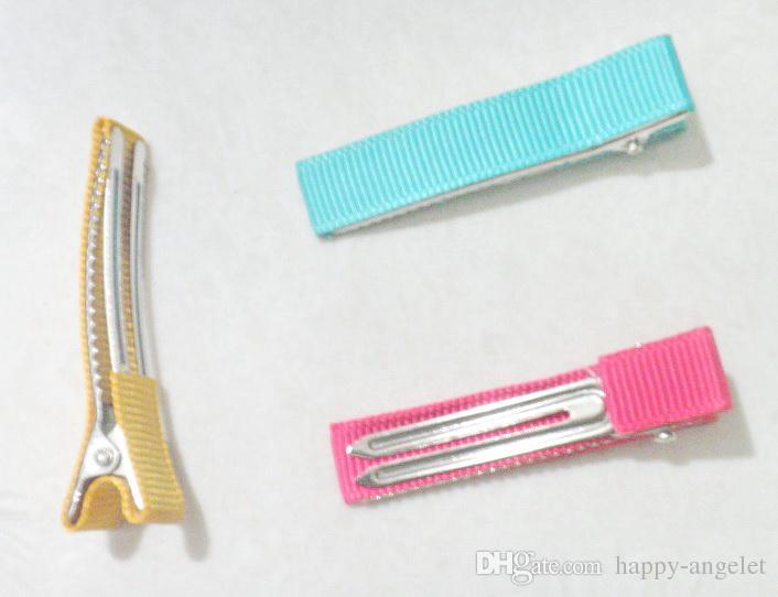 "1.9"" double Prong alligator teeth hair clips metal Barrettes grosgrain Ribbon Covered Hairpins DIY bow flower Accessories FJ3201"