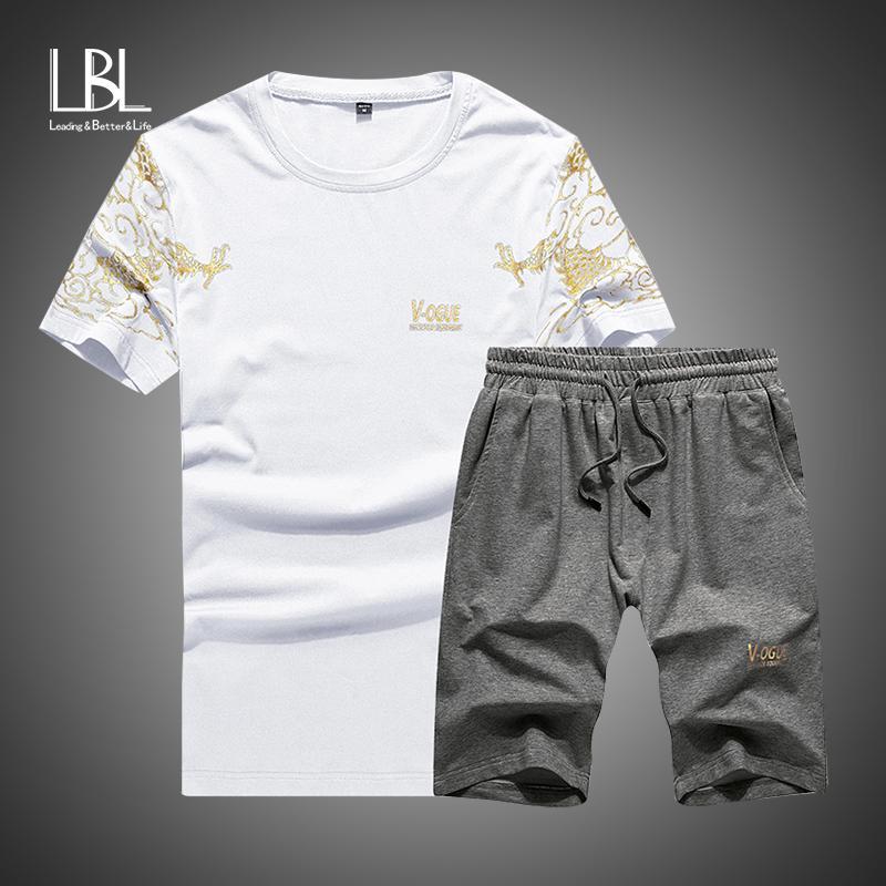 t-shirt Chandal Hombre Contrast Color Short Sleeve Men Shorts Tracksuit Men Last Style Men's Clothing New Men Suit Summer Sportswear T-shirt Set Shorts