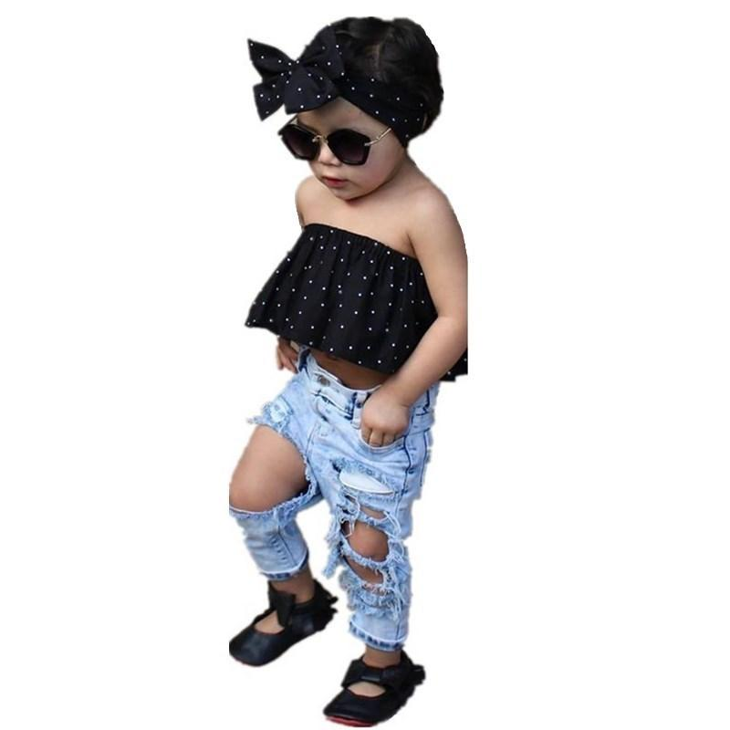 1-5T Baby Girl T Shirt Top + Pants Suit Off Shoulder Fashion Children Clothing Tracksuit Toddler Summer Kids Set Girls Clothes
