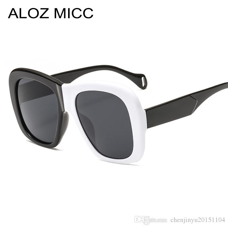 17c1ee01cf ALOZ MICC New Square Women Sunglasses 2019 Vintage Oversized Black White  Frame Sunglasses Men Gradient Shade Eyeglasses A409 Sunglasses Online  Sunglasses ...