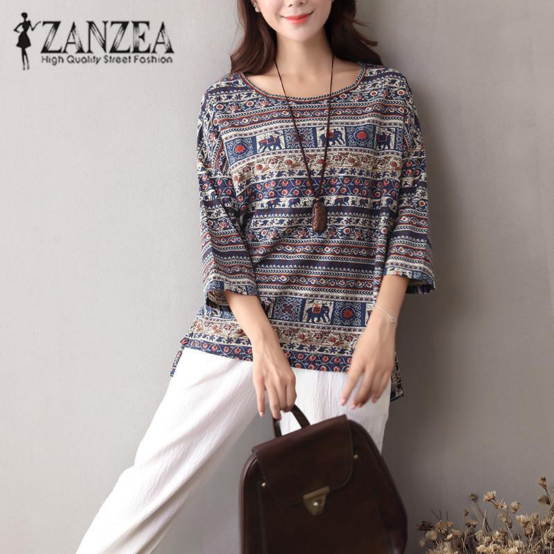 dd54574e0c3 ZANZEA 2019 Summer O Neck 3 4 Sleeve Ethnic Printed Cotton Linen ...
