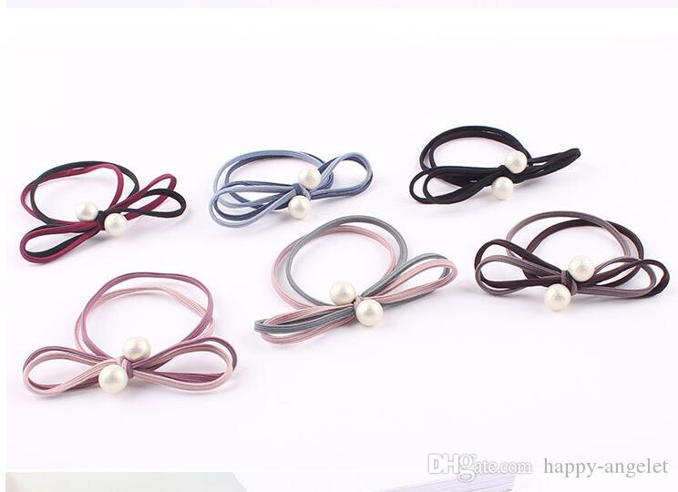 20pcs Mixed Color 3 Layer Hair Ties Rope Elastic Rubber Bands Ponytail Holder