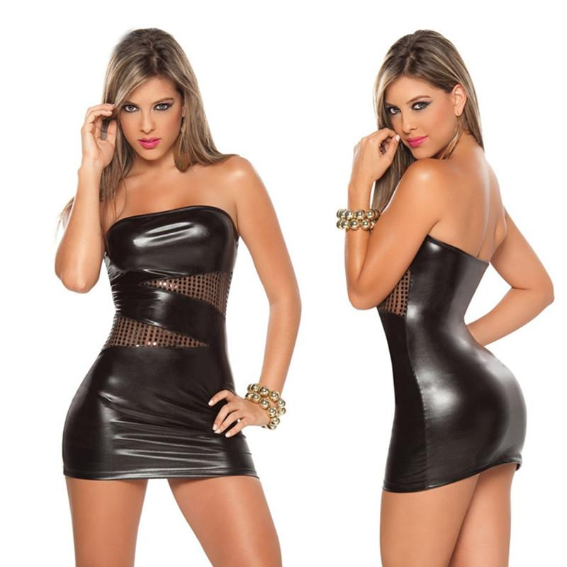 9b2eea17ea Hot Sexy Black Sliver Wet Look Mini Bodycon Night Clubwear Sleeveless PVC Faux  Leather Costume Latex Costume Pole Dancing Dress Dresses For Cocktail Dress  ...