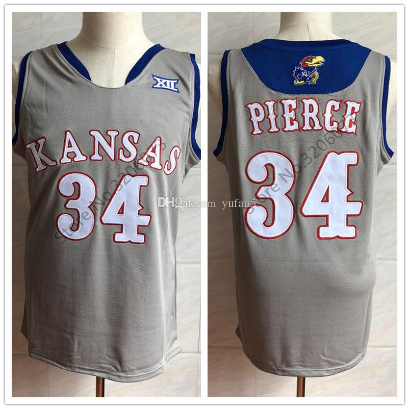 sale retailer d980c 9dc83 #34 Paul Pierce Kansas Jayhawks KU College Grey Retro Basketball Jersey  Mens Stitched Custom Number and name Jerseys