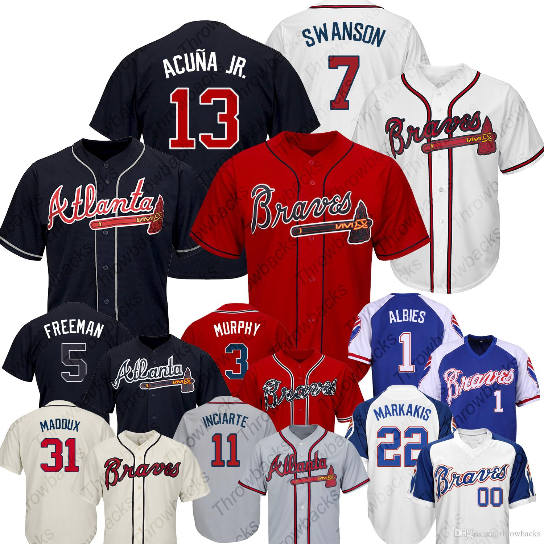 super popular cc2bf b19aa 2019 New Atlanta Braves jersey 13 Ronald Acuña Jr. 5 Freddie Freeman 7  Dansby Swanson baseball jersey