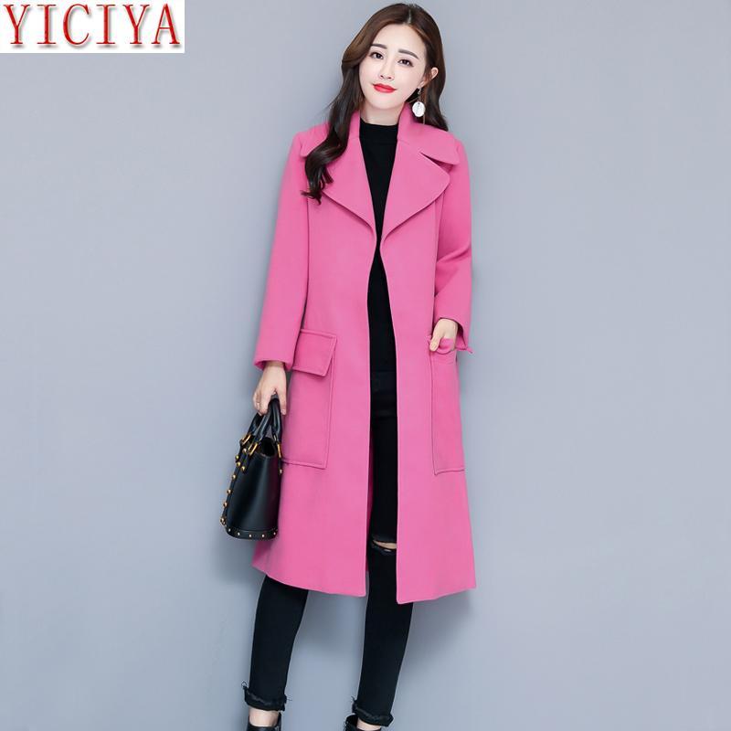 878a0cc4f Compre YICIYA Mulheres Jaqueta Rosa Outono Inverno Casaco De Lã Plus Size  Grande Grande Longo Blazet Ternos Sobretudo Fino Elegante Outerwear Roupas  De ...