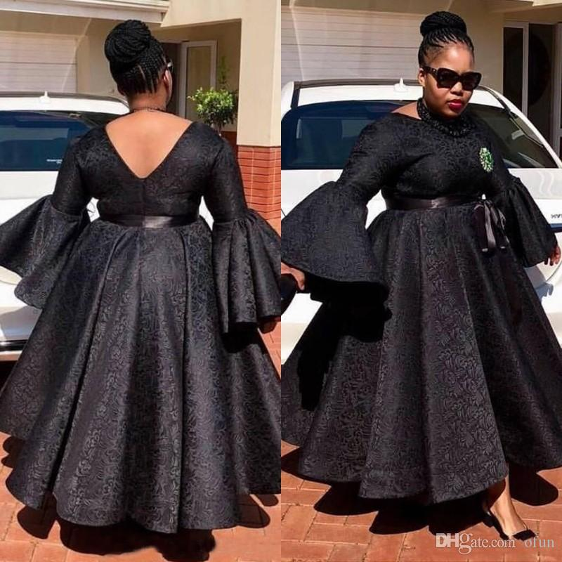 f842e6c38d Plus Size Black African Evening Dresses A Line Ankle Length Lace Prom Dress  Custom Made Women Formal Dresses Party Gowns