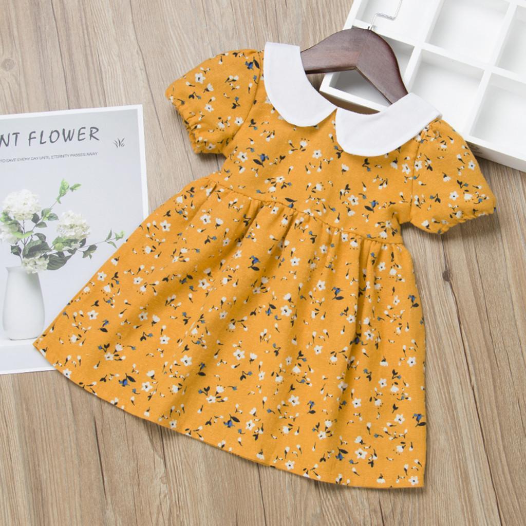 brand new f7cd7 d6375 Vestiti estivi della neonata Vestiti corti della stampa floreale Vestiti  del bambino vestiti del mio primo compleanno vestiti per le ragazze vestono