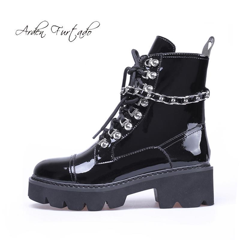 Compre Invierno Negro Atado Zapatos 2019 Cuero De Moda Cruz Mujer wqOw1AC