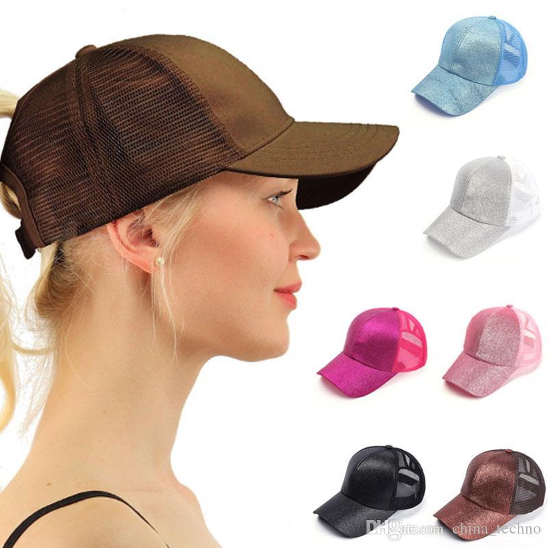 9542448d2e547 2019 Glitter Ponycap Women Baseball Hats Caps Ponytail Messy Bun ...