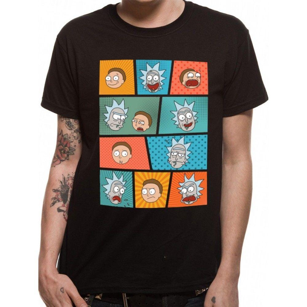 Rick And Morty - Pop Art Faces Men's XX-Large T-Shirt - Black Men Women Unisex Fashion tshirt Free Shipping Funny Cool Top Tee Black