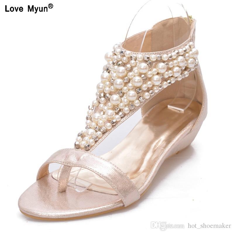 eddc8696 Compre Sandalias De Gladiador Estilo De Verano Chanclas Elegantes Zapatos  De Plataforma Mujer Perlas De Cuña Sandalias Zapatos De Mujer Casual 568ju  # 10211 ...