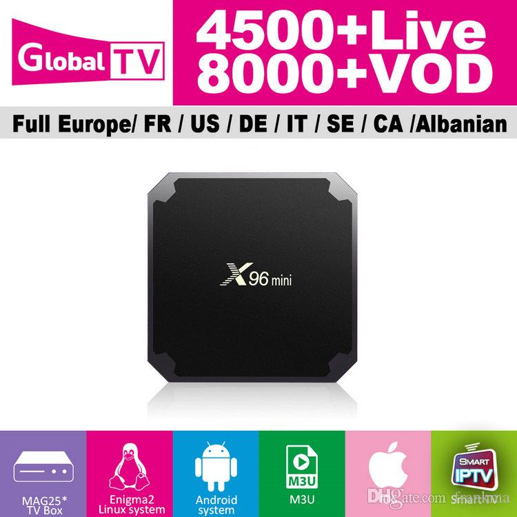 Global IPTV Subscription With X96 Mini 2GB 16GB Android 7 1 TV Box 4500+  Live 8000+ VOD Support France UK Italy Germany Spain IPTV Box