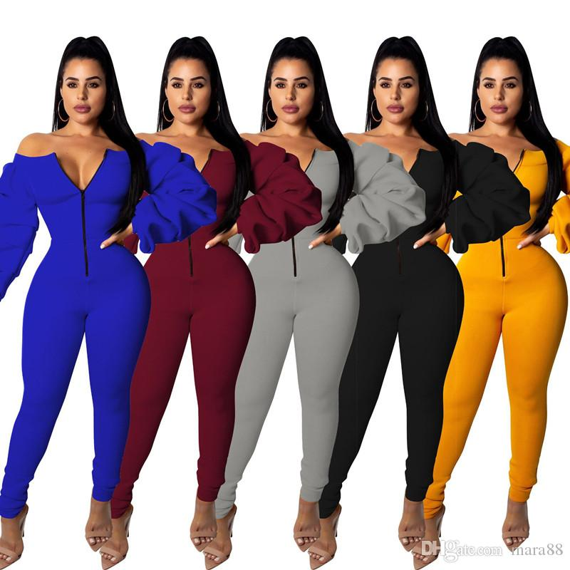 Women plus size jumpsuit puff sleeve slim rompers high stretch heavyweight one piece pants designer fall clothing off shoulder overalls 1052
