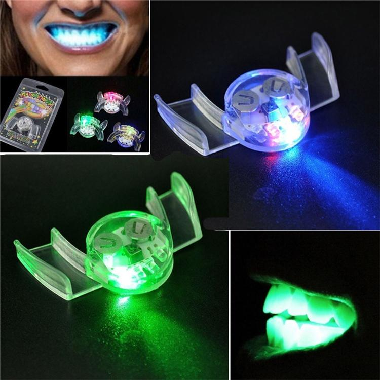 Flashing LED Light Up Mouth Braces Piece Glow Teeth For Halloween Party LED Rave Toys Flashing Teeth Mouth Toy SS156