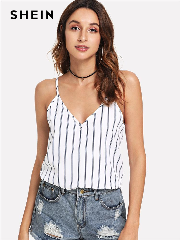 c98ab59e5e 2019 SHEIN Multicolor Weekend Casual Backless Double Deep V Neck Striped  Cami Top Summer Women Going Out Sexy Vest C19011001 From Shen8408, $11.96 |  DHgate.