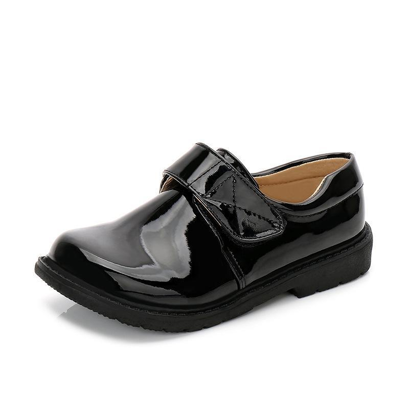 8f2d387381a3 Children Boys Black Dress Leather Shoes For Kids Fashion Wedding Patent  Leather School Oxford Shoes Flat Etiquette Rubber Sole Leather Free Shoes  Baby Pram ...