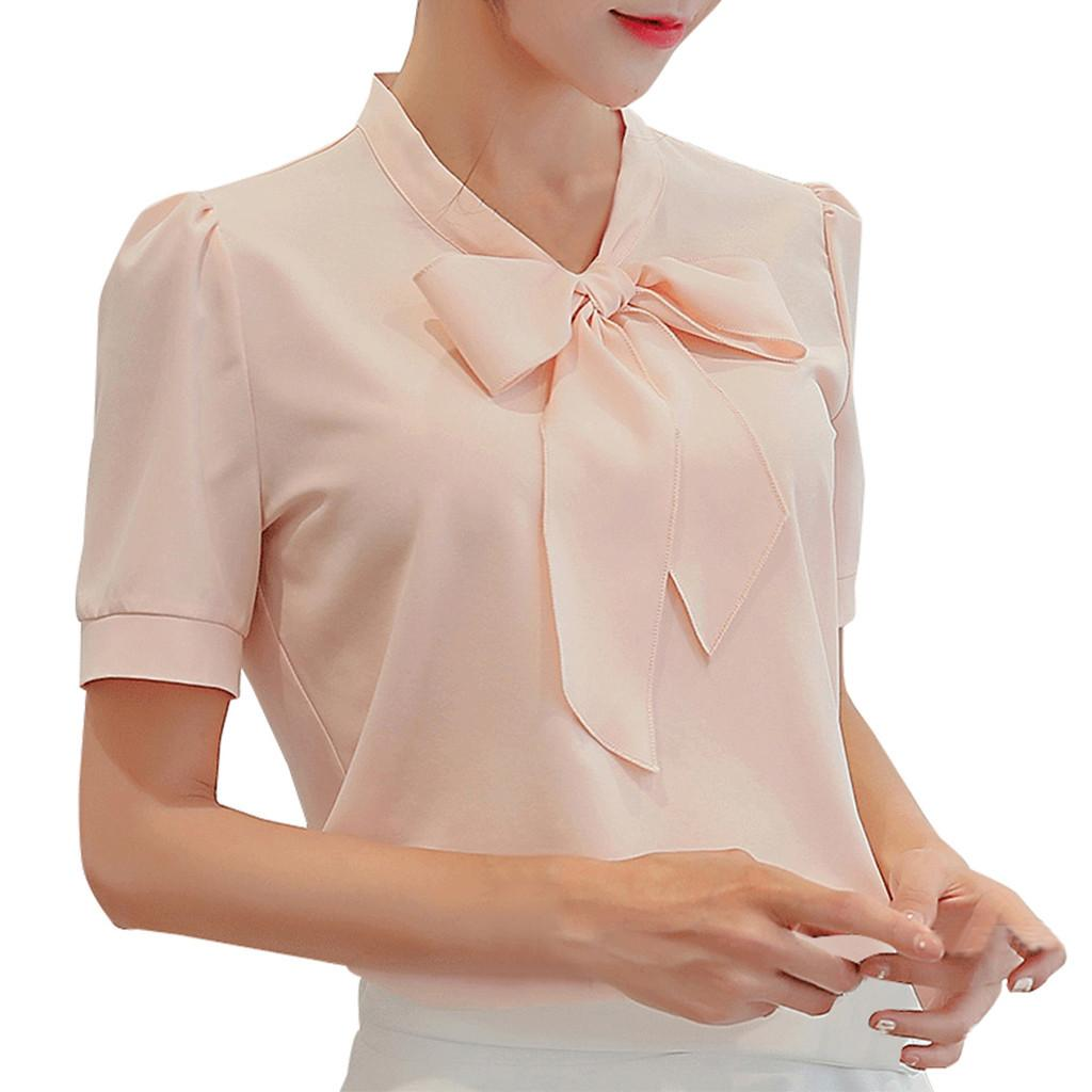 3e3357b0c5b 2019 Women Summer Work Office Short Sleeve Bow Tie Solid Chiffon Blouse Tee  Shirt Top From Junxcj, $38.16 | DHgate.Com