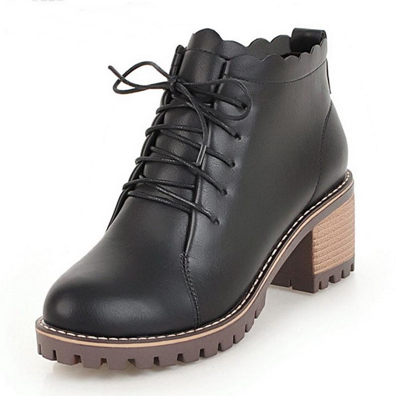 085edba3a86 2019 New Women Ladies Ankle Boots Square heel Casual Shoes Female Soft  Leather Boots School Style For Girls Black Motorcycle