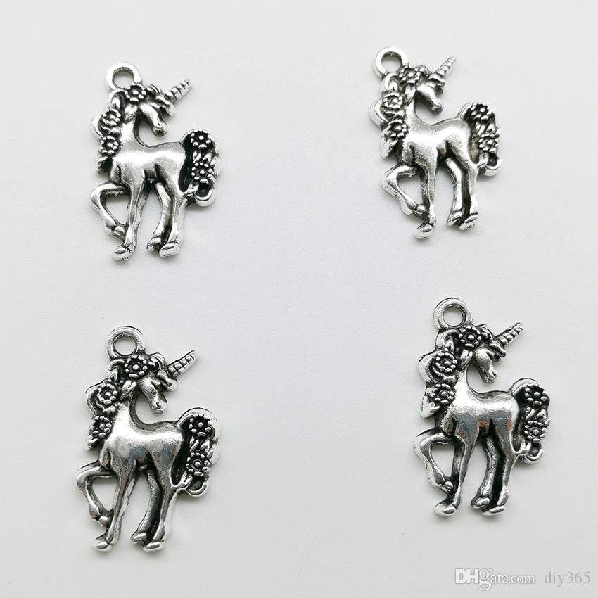 charms pendant Tibetan silver unicorn fit bracelet necklace DIY 20//50pcs