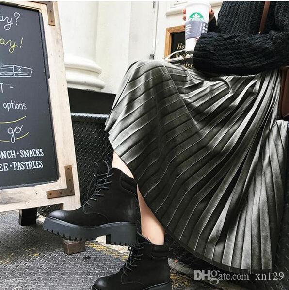 a0d001e7551bcb 2019 nouveau printemps automne taille haute maigre femme jupe de velours  jupe plissée jupe plissée livraison gratuite