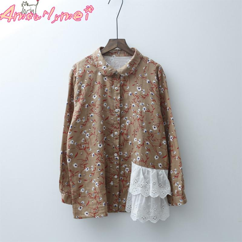 Japanese Mori Girl Vintage Flower Print Hollow Out Lace Patchwork Long Sleeve Cotton Linen Blouse 2019 Spring Women Shirt Tops