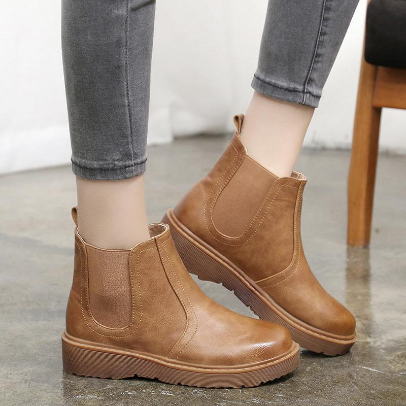 1ddab128635 Winter Boots Women Chelsea Boots Platform Shoes Woman Boot Black Low Heels  Boots Ladies Booties botas mujer ghn78