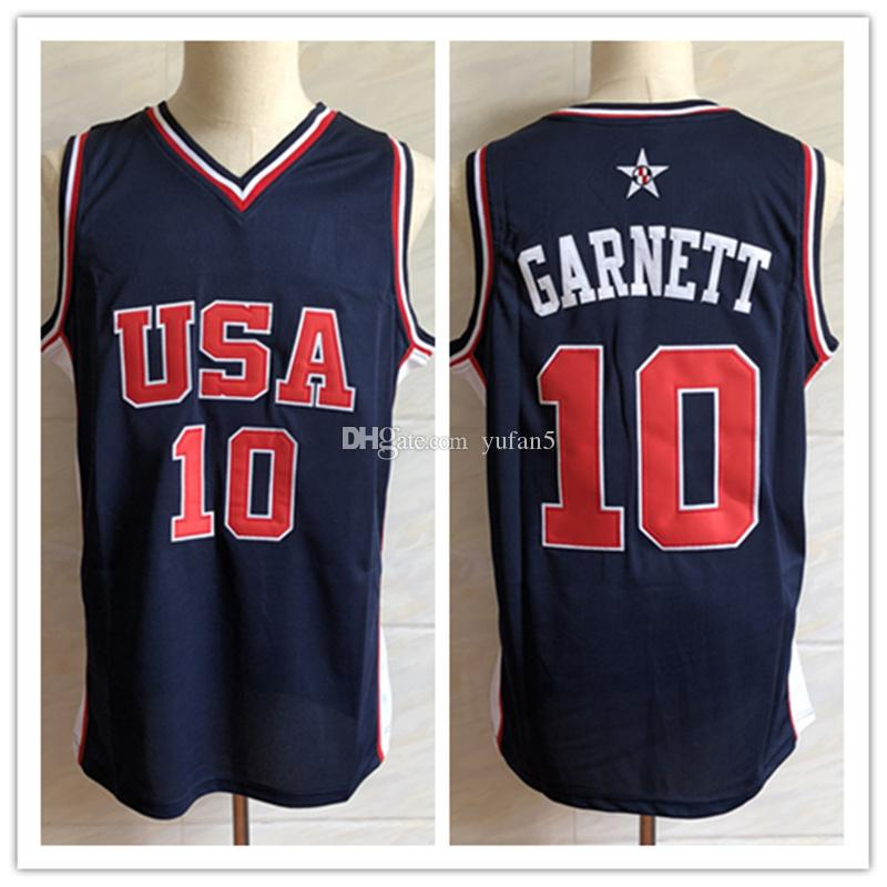 best loved 578d4 1379e #10 Kevin Garnett Olympic Dream Team America Retro Basketball Jersey Mens  Stitched Custom Number and name Jerseys