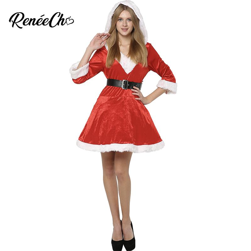 e1e54ab6413a Christmas Costume Women Sassy Mrs Claus Costume Red Christmas Dresses  Ladies Santa Claus Suit Hooded Fancy Dress And Belt Set Simple Group  Halloween ...