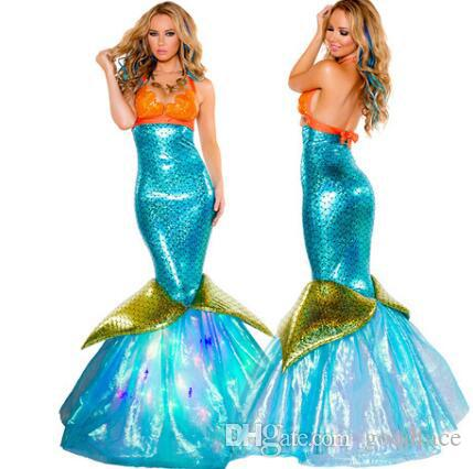 2019 new Mermaid Cosplay Dress Performing Photography Halloween Costume Mermaid Dress Adult Sexy Skirt Role Playing Cosplay Clothing Dress