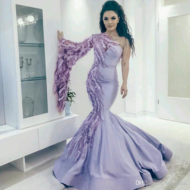 Stunning Mermaid Evening Dresses Long New 2019 One Shoulder Piping  Appliques Side Bell Sleeve Elegant Saudi Arabia Style Prom Party Gowns  Cheap Evening ... 79fa5fd034a3