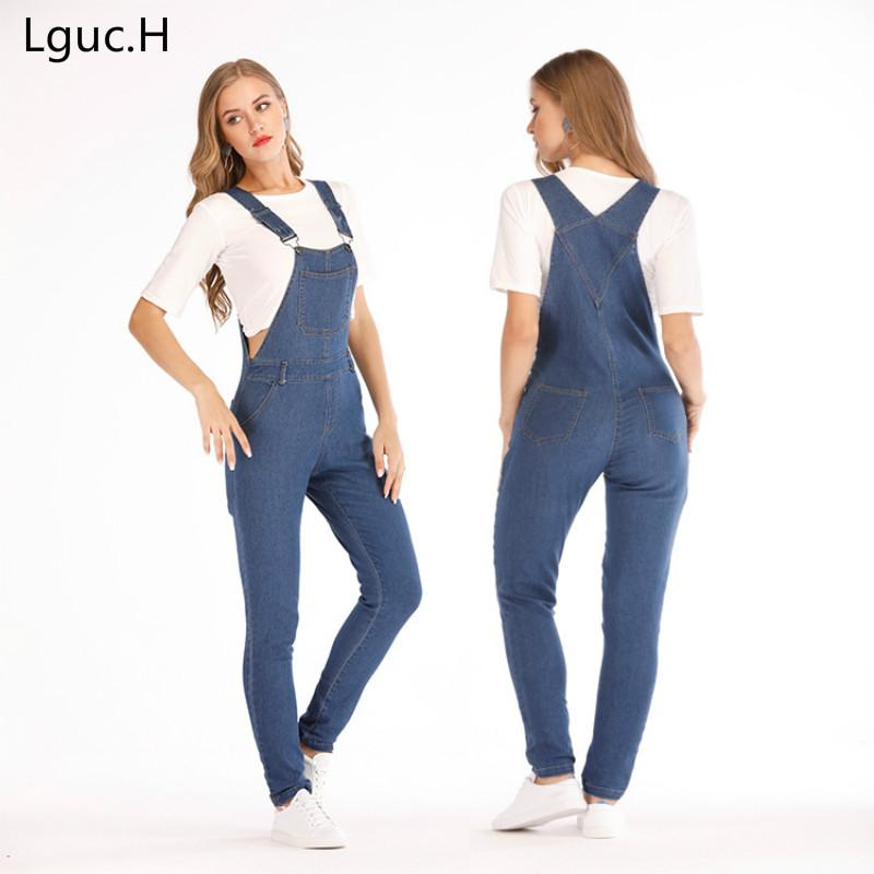 d7c61476d8bc2 H Plus Size Women Jeans Fashion Comfortable Denim Overalls Mom Jeans  Suspender Trousers Solid Color Slim Womens Clothing From Pingpo