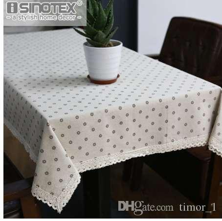 Dandelion Linen Table Cloth Country Style Flower Print Multifunctional Rectangle Table Cover Tablecloth With Lace Edge
