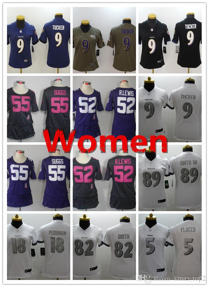 e5c1a85f Women Ravens Football Jersey 9 Justin Tucker 5 Joe Flacco 18 Breshad  Perriman 55 Terrell Suggs 82 Torrey Smith Women Baltimore Jerseys
