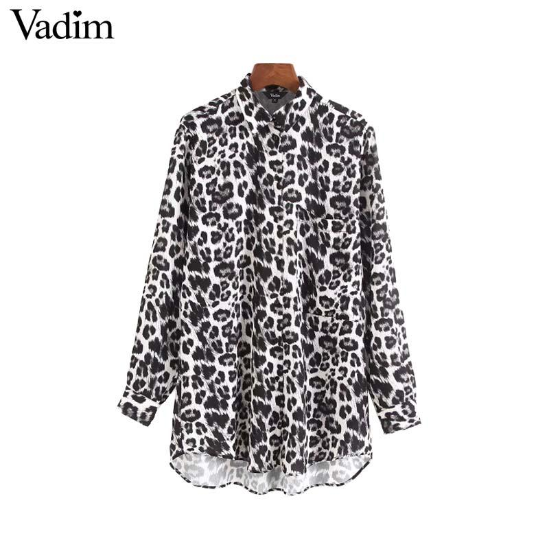 6f01ba98cc566 2019 Vadim Women Chic Leopard Print Long Blouse Animal Pattern Pockets Long  Sleeve Pleated Shirts Casual Retro Tops Blusas LA645 From Viviant