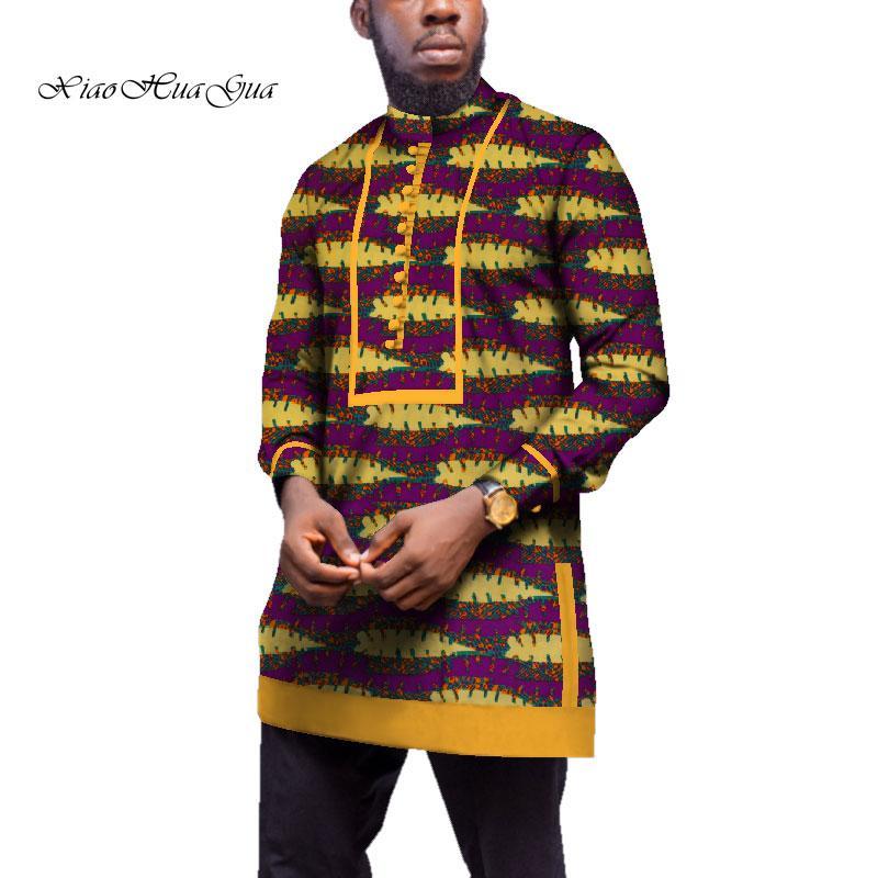 Großhandel Männer Langarmhemd Traditionelle Afrikanische Kleidung Bazin  Riche Tops Männer Casual Afrikanischer Druck Langes Hemd Mantel WYN539 Von  Guchen3, ... da8e162459