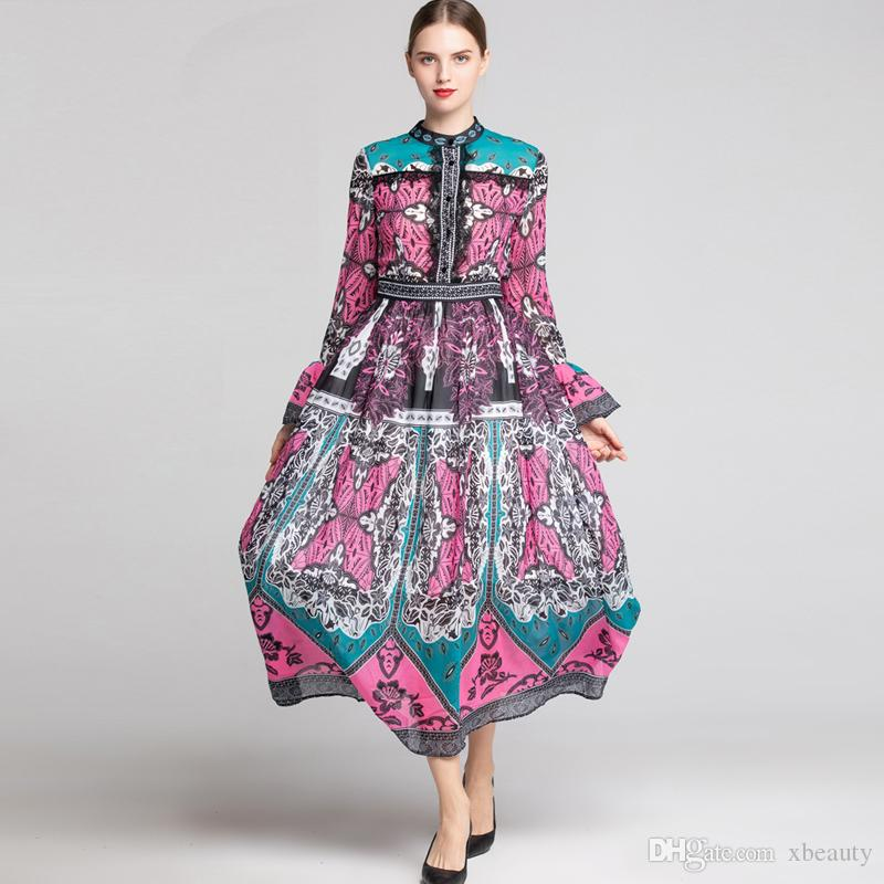 b363154575f49 Women's 2019 Runway Dresses O Neck Long Flare Sleeves Printed Lace  Patchwork Elegant Casual High Street Fashion Dresses