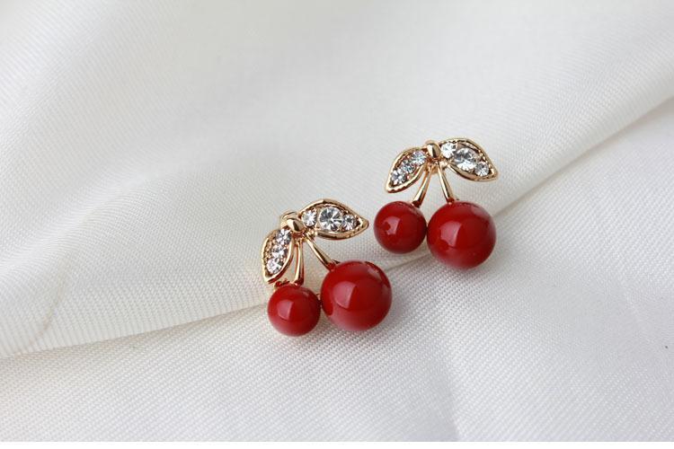 2018 neue mode niedlich schöne rote kirsche ohrringe strass blatt perlen ohrstecker für frau schmuck boucle d'oreille femme