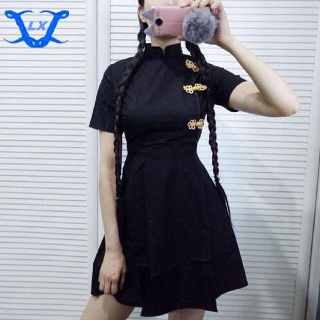 Negro Cheongsam Chino Moda Góticos Delgado Mandarín Mujer Lindo De Rojo Lolita Vestido Estilo Cuello Vintage Vestidos Nuevo Harajuku QCrdsht
