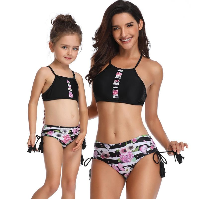 3118de651c2fb Fashion Tassel Floral Mother Daughter Swimsuit Family Matching Outfits  Mommy and Me Swimwear Striped Mom Baby Girl Sisters Summer Clothes