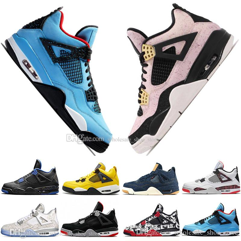 Sale 2019 Newest Bred 4 4s What The Cactus Jack Laser Wings Mens Basketball Shoes Denim Blue Pale Citron Men Sports Designer Sneakers 5.5-13