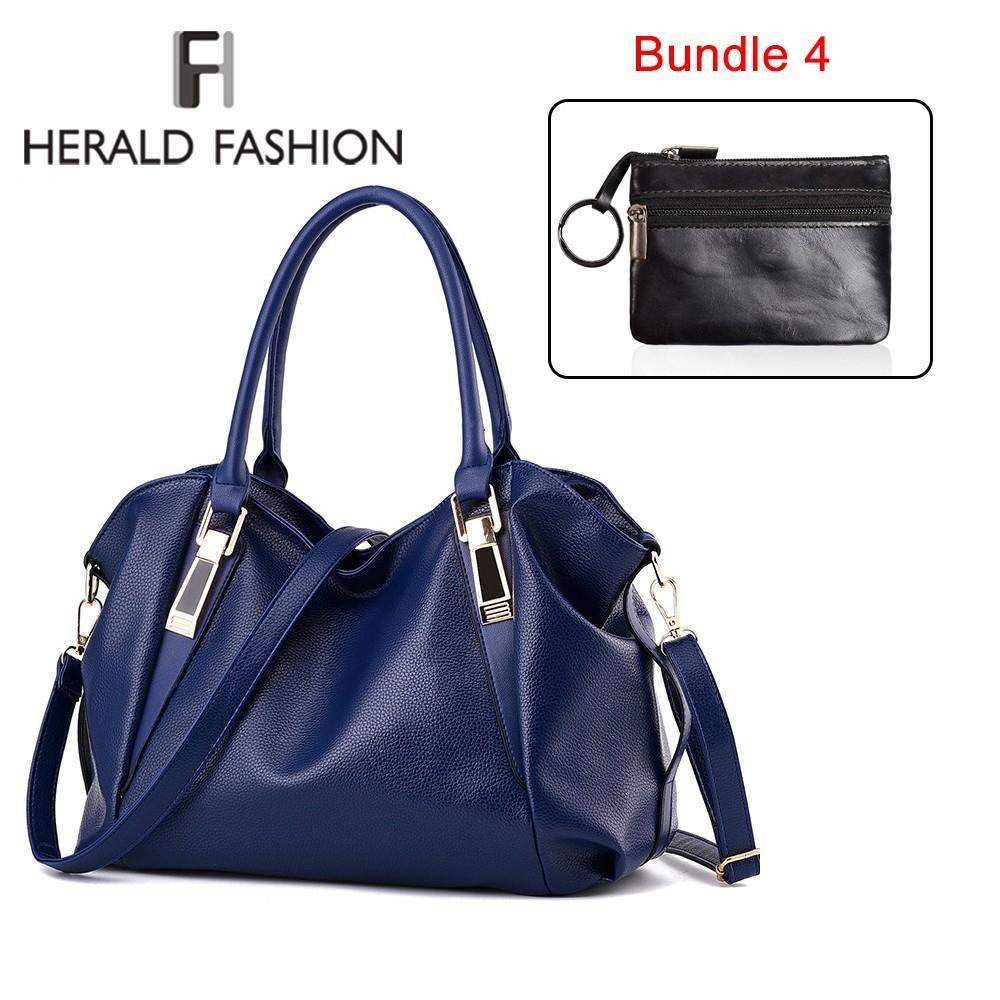 d4a1d1937f4a7 Compre Herald Fashion 2 Bolsas Para Mujeres Bolso De Cuero Con Mini Cartera  De Calidad Bolso De Hombro Femenino Bolso De Mano Casual Monedero Sac A   24.09 ...