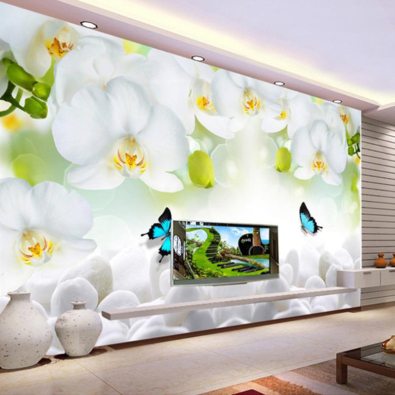 Modern Simple White Flowers Butterfly Photo Wallpaper 3d Wall Mural Living Room Tv Sofa Backdrop Wall Painting Classic Mural 3 D