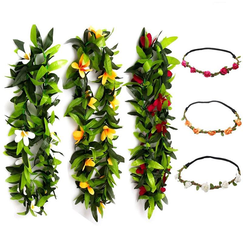 6 PCS Hawaiian Leis Flowers Necklace Headbands Tropical Luau Hawaii for Party Supplies, Beach Party Decorations, Wedding, Birthd