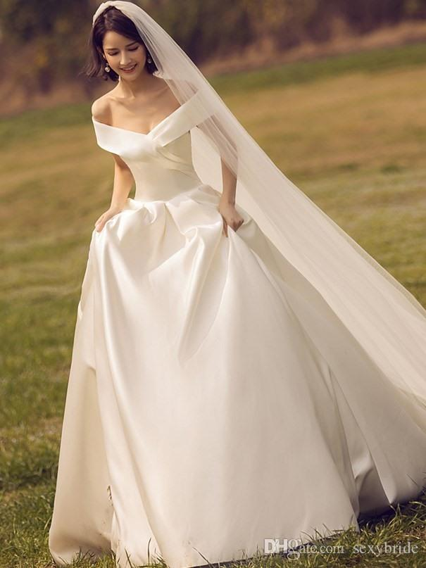 Cheap Simple Satin Wedding dresses Off Shoulder A Line Cathedral Train Lace Up Charming Garden Long Wedding Dress Bridal Gowns Plus Size