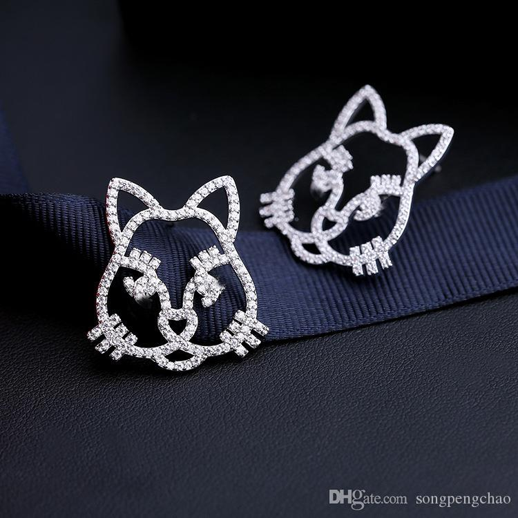 2019 new Korean sweet cute cat inlaid zircon earrings temperament ladies fashion temperament simple animal earrings jewelry accessories