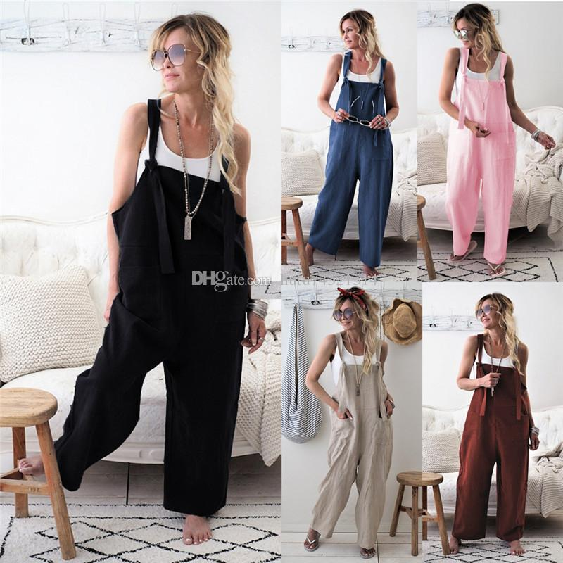 2019 Fashion Oversize Women Girls Loose Solid Jumpsuit Strap Dungaree Harem Trousers Ladies Overall Pants Casual Playsuits