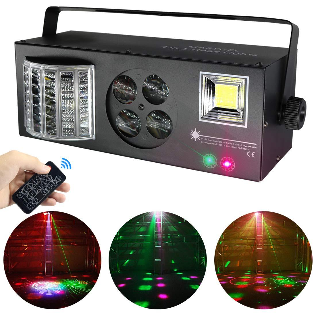 Dj Equipamento 4 em 1 Pattern Effect LED RGBW Mixed luzes de laser do Flash Strobe Light por Remoto e Controle DMX para DJ Stage Festa de Natal
